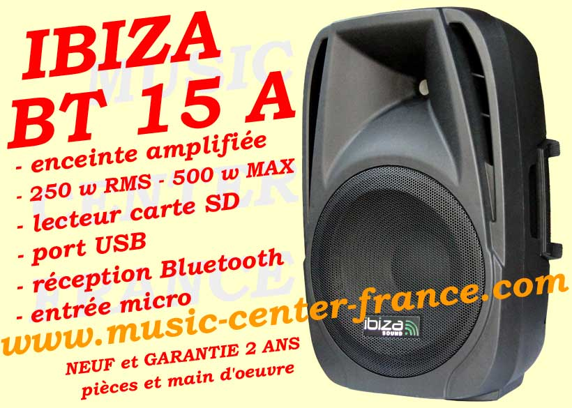 enceinte active ibiza bt 15 bt15 a bt15a usb sd bluetooth. Black Bedroom Furniture Sets. Home Design Ideas